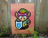 Link from Legend of Zelda: A Link to the Past SNES pixel painting 12x16 canvas