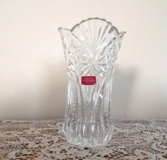 cristal d 39 arques paris vase crystal cut scallop edge fan. Black Bedroom Furniture Sets. Home Design Ideas