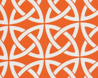 Linked In Tangerine Tango Orange Indoor Outdoor contemporary Fabric