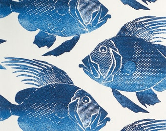 FLASH SALE!!!!,ODL Fish Navy, Indoor Outdoor Fabric, Fabric By The Yard, P.Kaufman Fabrics