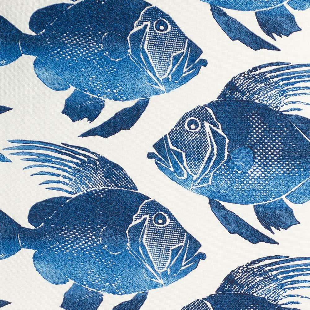 Flash saleodl fish navy indoor outdoor fabric fabric by for Fish fabric by the yard