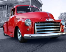 GMC Model 100 Pickup Truck Right Front Red HD Poster Hot Rod Car Print