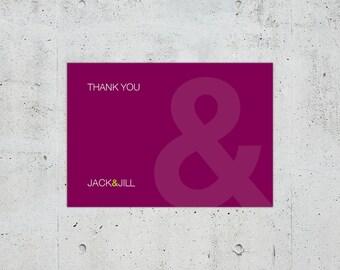Simple Minimal Modern Helvetica Typographic Wedding Thank You Card | Printable DIY | Color Customizable