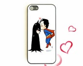 Fun Comic Batman Superman Kiss iPhone 4 4s 5 5s Case