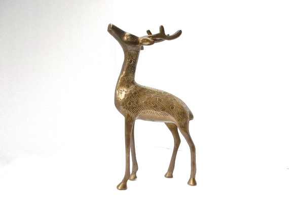 Brass Deer, Vintage Brass Deer, Hollywood Regency Deer, Mid-Century Modern Brass Animal, Brass Stag, Brass Buck