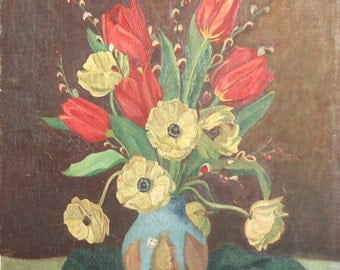 1954 European art oil vintage tulips still life painting signed