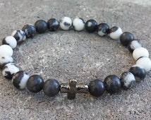 FREE SHIPPING-Men's Bracelet, Men's Stone Bracelet, Men's Zebra Stone Beads, Gunmetal Cross Bracelet, Bead Bracelet, Bracelets For Men