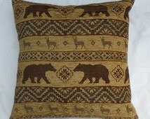 "Beige brown chenille pillow cover, hunting cabin cusion cover, 17""x17"" pillow cover, ready to ship"