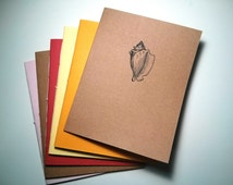 Conch Shell Notebook - journal, staple bound, multipack, handmade, sea shell, ocean animals, diary, custom printing included
