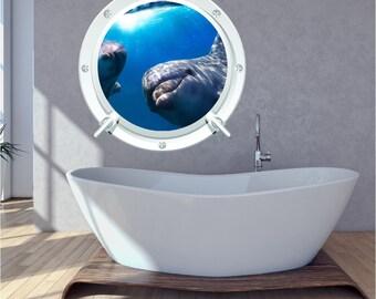Dolphin Bathroom Bedroom Porthole Wall Art Sticker Decal Under Water DP1 WAP-P103B