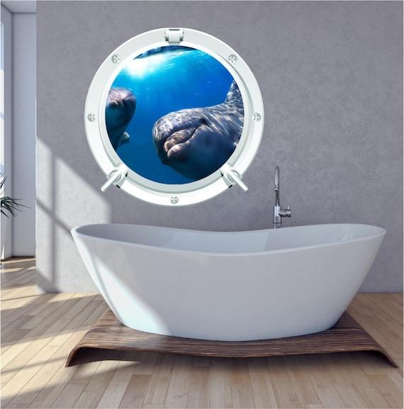 Dolphin bathroom bedroom porthole wall art sticker decal under