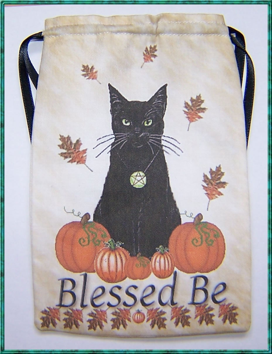 Tarot Bags Tarot Cards Cloths More: Tarot Card Bag Samhain Black Cat Design For Most Angel Fairy