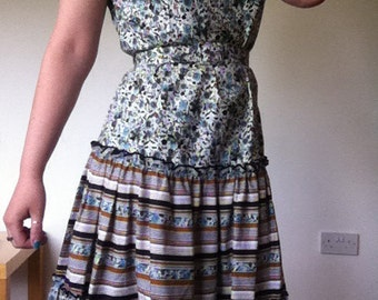 70s does 50s floral circle dress with matching belt