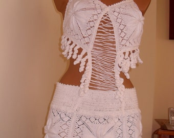Sexi bikini dress ,original crocheted white.Boho dress size  38EU/8USA