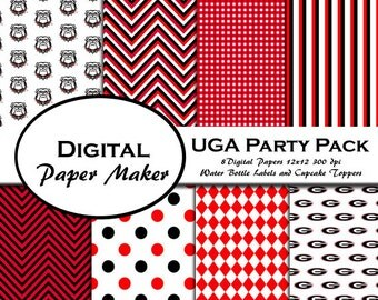 University of GA Digital Party Pack to use for scrapbooking, clipart, backgrounds, invitations, party supplies and more. Instant download.