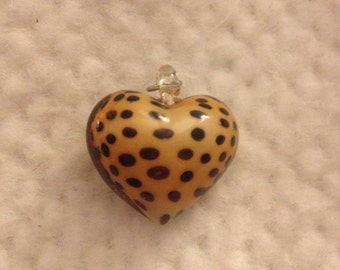 Yellow and Brown Spotted Heart Bead