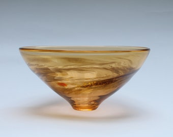 "Blown Glass Bowl, Orange and gold, 4.25""tall x 9""wide, signed"