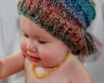 Child ombre sky stocking hat with tassel
