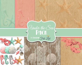 Under The Sea, Beach Theme, 12x12 papers, Digital Clipart, Starfish, Seahorse, Shells, Lobster, Sand Dollar