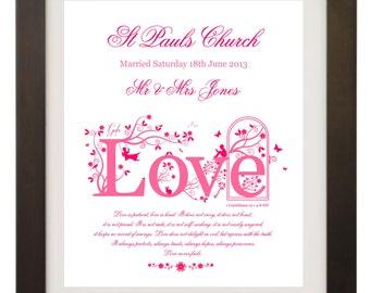 Custom Personalised Wedding  /Anniversary Christian Art Print Gift A4 in Size, Wall Art Print