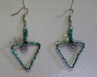 Colorful Triangle Hoop Earrings ............. Wire Wrapped