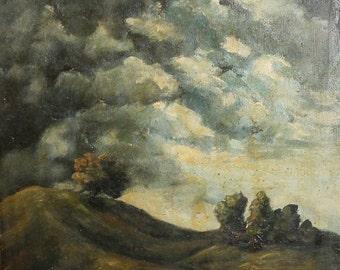 Vintage oil painting impressionist landscape