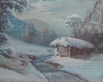 Antique oil painting winter river landscape