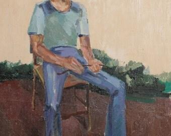 Antique oil painting young man portrait