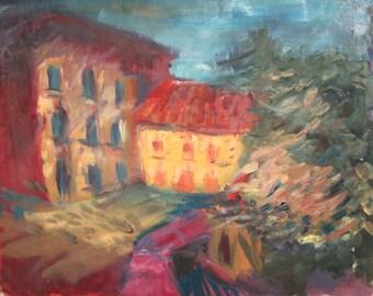 Vintage cityscape oil painting