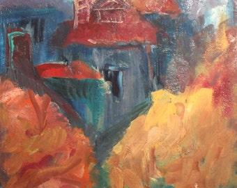 Landscape cityscape vintage oil painting