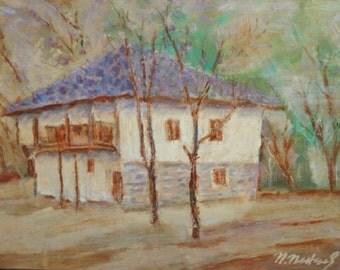 Vintage oil painting impressionist landscape signed