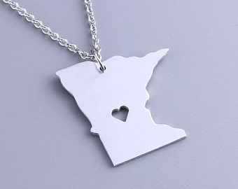 I heart Minnesota Necklace - Minnesota Pendant - State Charm - Map necklace - Map Jewelry