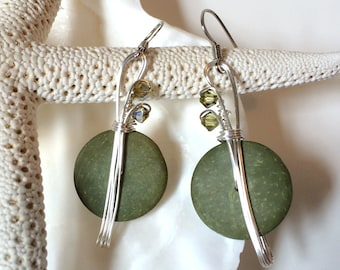 Sage Green Earrings, Boho Jewelry, Coconut Shell Jewelry, Wirewrapped Earrings, Handmade Earrings, Bohemian Earrings, Olive Green Jewelry