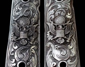 PEWTER 1911 GUN Grips Engraved US Eagle Scroll Design Kimber Colt Smith Wesson Pistol More