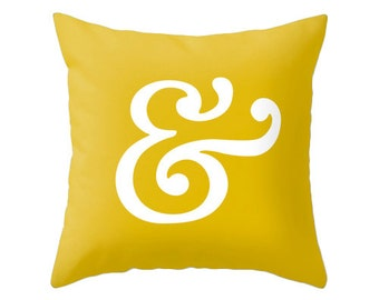 Ampersand pillow cover. Mustard yellow pillow ampersand cushion typography cushion Mustard yellow cushion mustard yellow decorative pillow