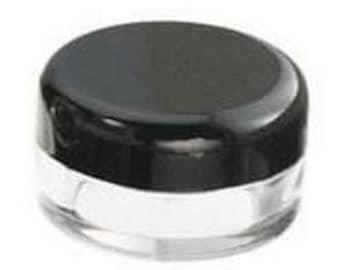 100 x 3g Plastic Sample Jars for Craft Storage or Cosmetic Samples Black or White Lids