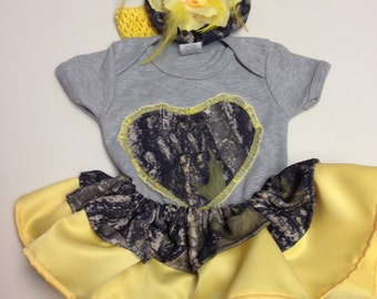 Custom made to order yellow/camo onesie with matching headband.