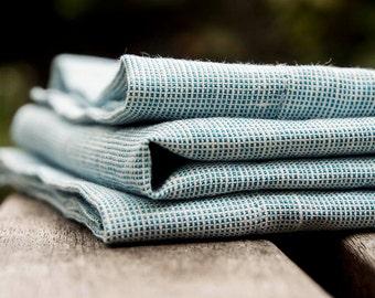 The set of 2 natural linen napkins ,Blue linen napkins