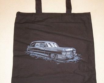 1964 Cadilac hearse tote bag