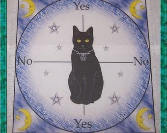 Black Cat Scrying Mat, Dowsing wiccan Magic Divination.