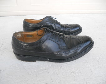 Vintage Men's Black Florsheim Imperial Wingtip Dress Shoes 10 D FREE SHIPPING