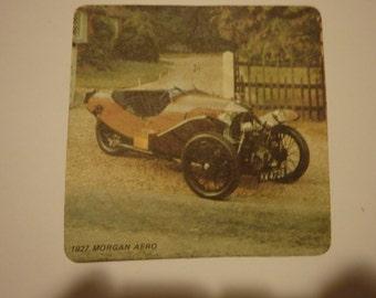 Vintage drink coasters. Used. Type of cars: 1928 Minerva, 1927 Morgan Aero,1912 Fiat