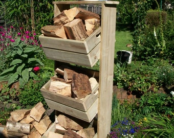 Vintage Style Farmhouse 3 tier fruit crate stand ideal for shop displays / growing herbs and weddings