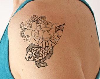 Koi Carp - Temporary Tattoo (Set of 2)