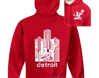 Detroit Red Wings Spirit of Detroit Screen Print Hooded Sweatshirt Red Hoodie, Sizes S-5XL