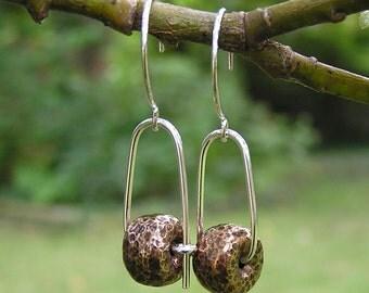 Bronze fat donut mixed metal earrings