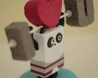 wedding cake topper ---I LOVE YOU ---Panda----Handmade,Handcrafted wood panda doll