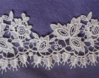 Ivory Guipure Lace Edgings for trimming wedding dresses or veils. Choice of 4 Designs