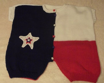 "Hand Knitted & Decorated Cotton Baby Outfit. ""Texas"" Pattern"