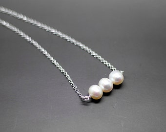 Fresh water Pearl  Sterling Silver Necklace- Gift for Brides maid, friends, sisters, Mom.